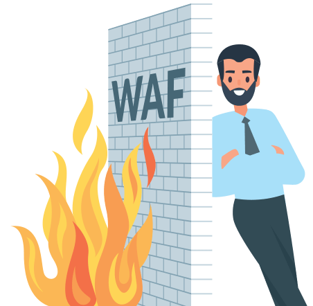 Graphic showing a guy behind a burning wall representing a firewall