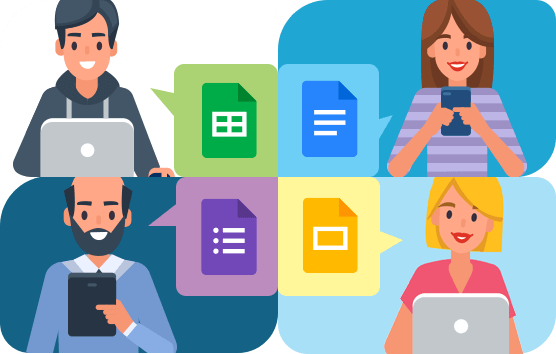 Graphic of Four users collaborating with different devices and Google Workspace apps