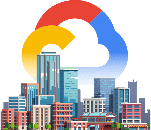 Graphic of Google Cloud logo rising over a city skyline