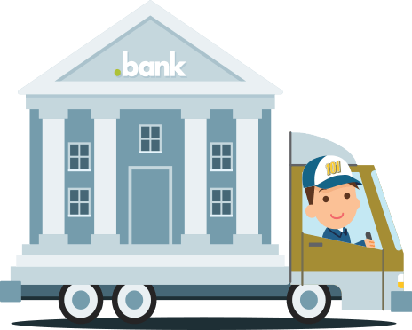 image showing a moving truck carrying a bank building