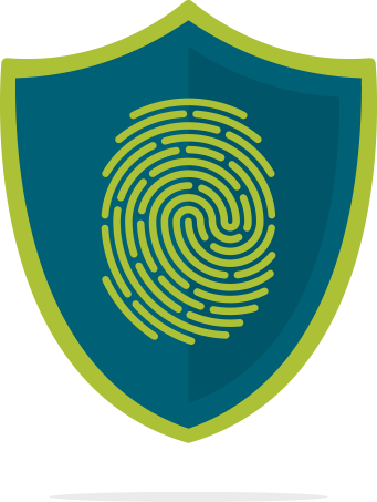 Graphic depicting a shield with a thumb print