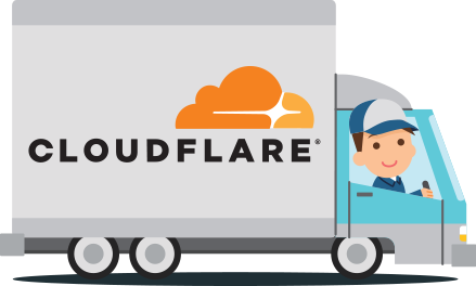 Graphic showing a moving truck with the Cloudflare logo