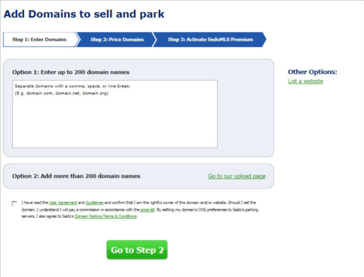 Add domains to sell at SEDO